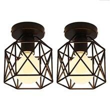 Luz de techo Industrial, 2 uds., jaula cuadrada de Metal, candelabro Retro de hierro, accesorio de luz de suspensión para pasillo, entrada,