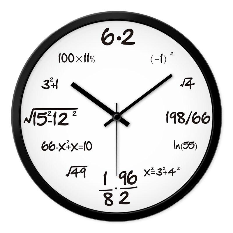 Creativo Reloj de pared de matemáticas silencioso Simple novedad Reloj de pared Simple sala de estar Orologio Parete decoración del hogar YY60WC