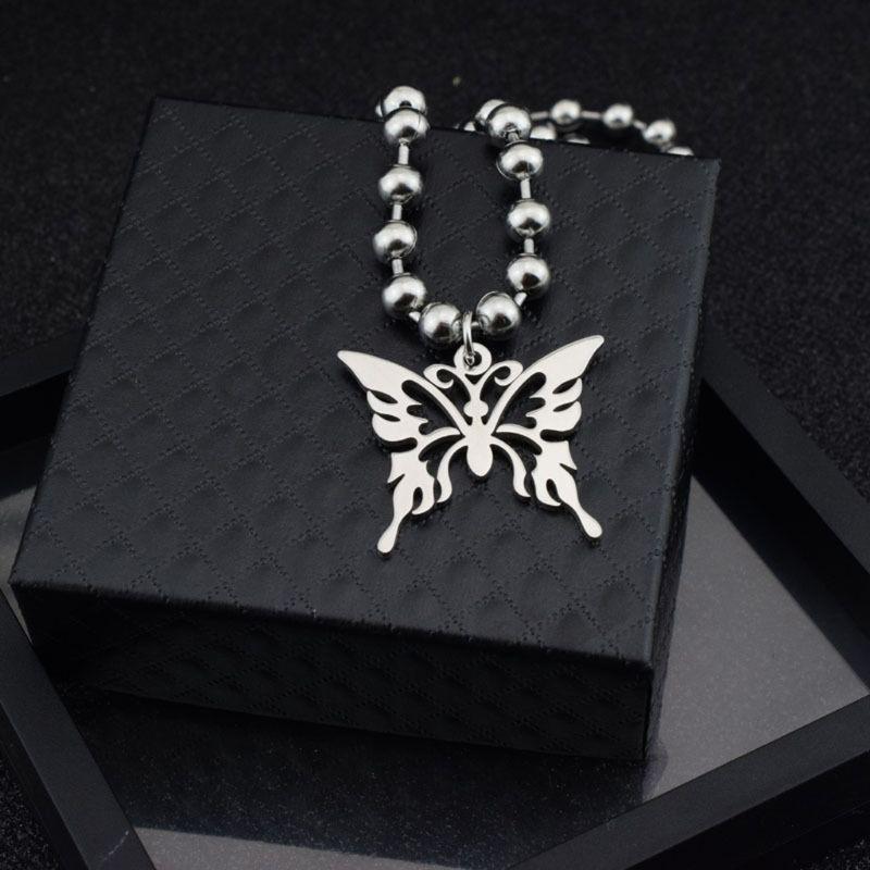 Mariposa Acero inoxidable colgante collar bola cadena Punk Rock collar Unisex F3MD