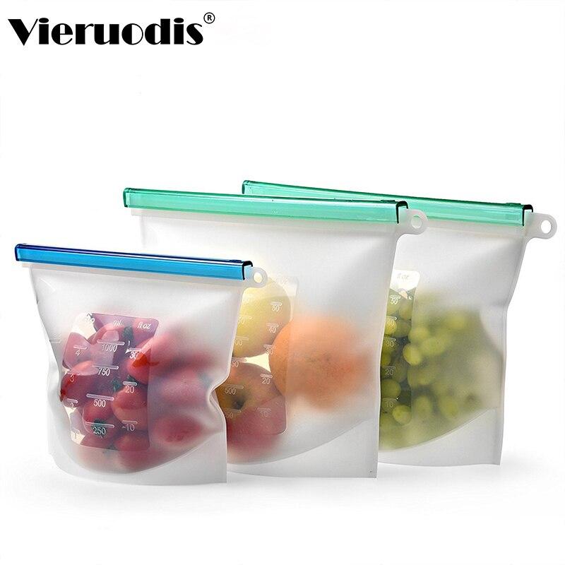 De silicona fresca mantener vacío de la bolsa de bolsa para alimentos sellada reutilizable bolsas Organización del hogar y nevera para almacenamiento de cocina