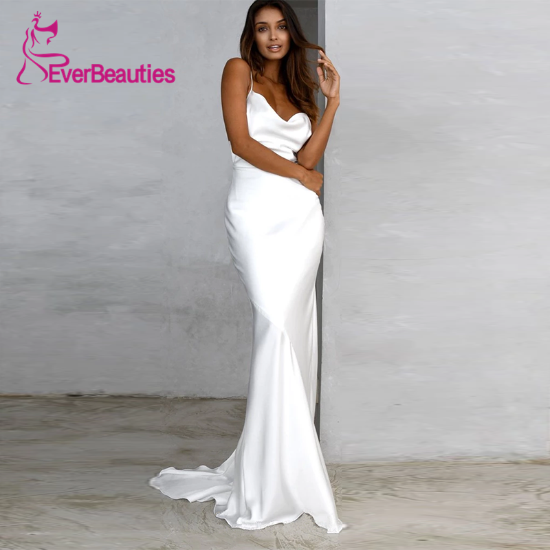 BATA De Mariee vestidos De novia 2020 vestido De novia Abito Da Sposa boda Mariage satén Spaghetti Correa trouwjuck Sunia Slubna