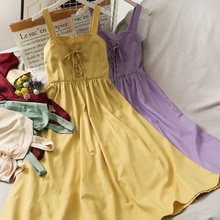 2021 New Bow Drawstring Lace High Waist Slimming Slip Dress Women's Summer Pleated Beauty Back Mid-L