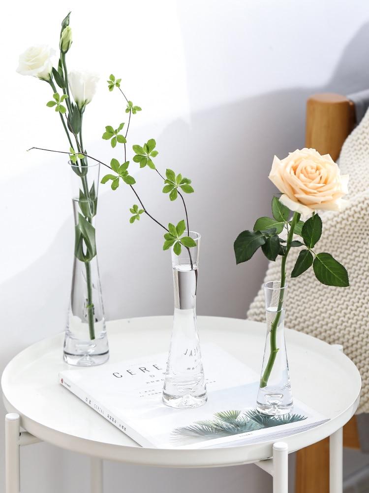 Florero de vidrio nórdico, corsé de cintura Simple fino, florero hidropónico transparente para plantas, adornos de escritorio, decoración del hogar