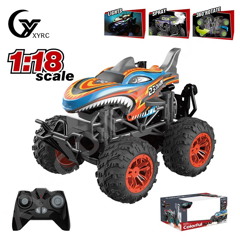 2021 New RC Car 1:18 Scale Colorful Lighting Effcet Spray Stunt 360 Rotation PET Shell 2.4Ghz Wifi M