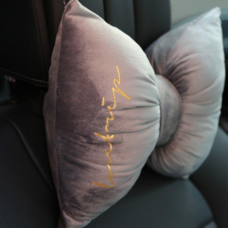 Car Pillow Cushion Soft Velvet Bowknot Office Lumbar Pillow Removable and Washable Car Headrest Neck Pillow Plush Sofa