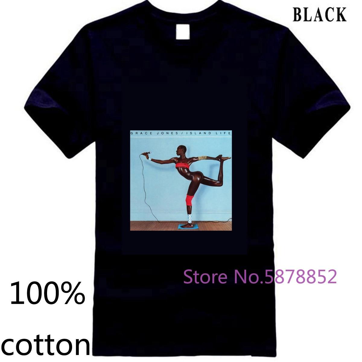 Grace Jones Island Life Rock banda de música Unisex GJ3 recién llegado, camiseta para hombre, camiseta, camisetas, 100% de algodón