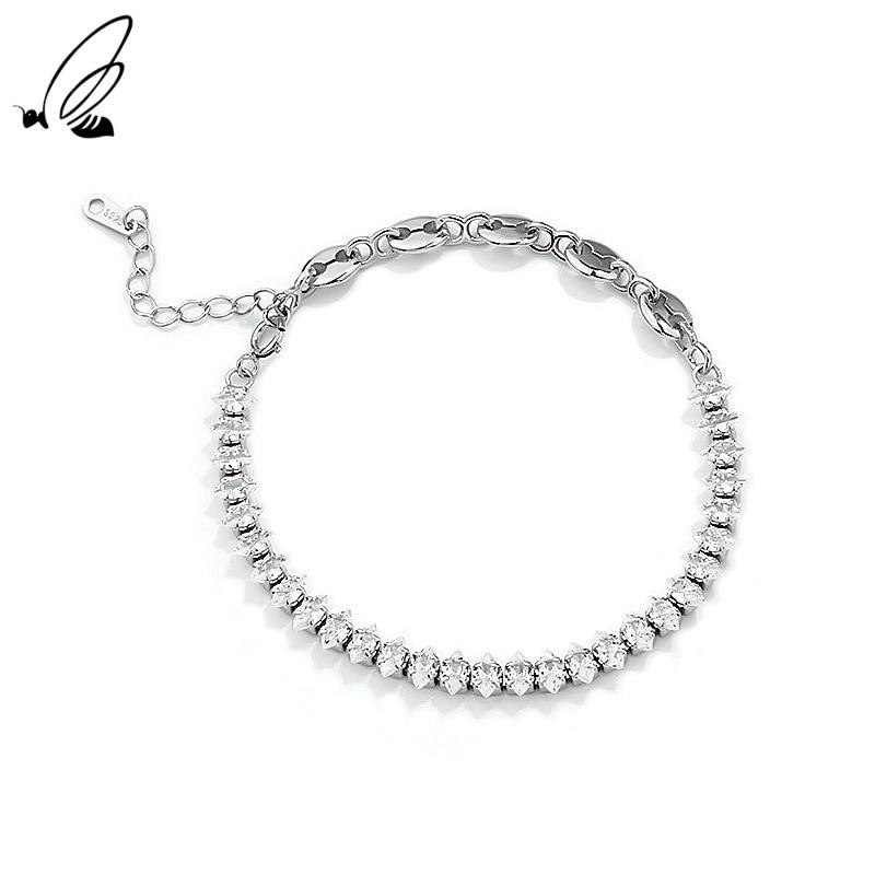 S'STEEL 925 Sterling Silver Punk Bracelet Feminine Fashion Chain Splicing Zircon Women's Accessories