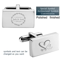 custom logo cufflinks for men fashion square cuff links engraved groombride name best jewelry cuffs for wedding