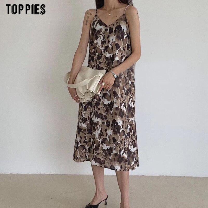 Toppies 2021 сексуальный сарафан с принтом женский камзол миди платье сейкс без рукавов vestidos летняя одежда   Женская одежда   АлиЭкспресс