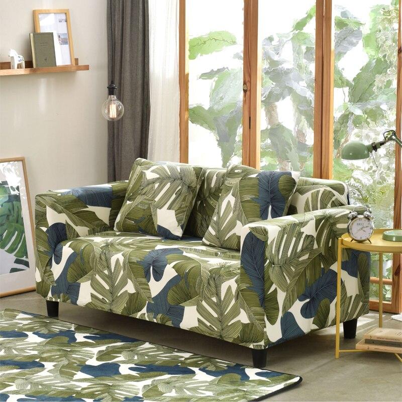 Padrão de folha sofá capa para sala estar moderna secional canto sofá slipcover capa cadeira protetor 1/2/3/4 seater