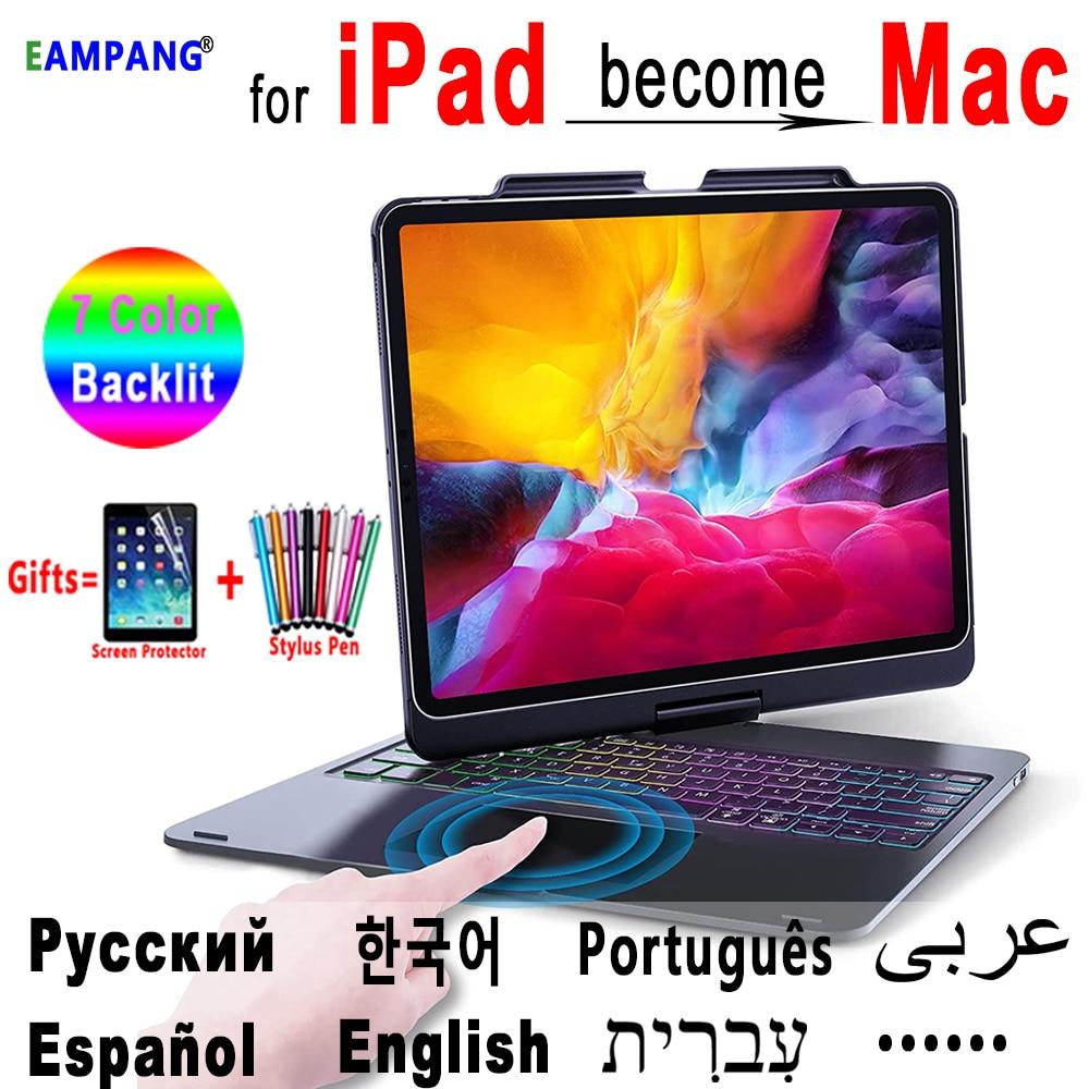 Чехол Magic Keyboard для iPad Pro 2021 2020 2018 12,9 Русский Арабский Корейский еврейская, испанская португальская клавиатура беспроводная мышь