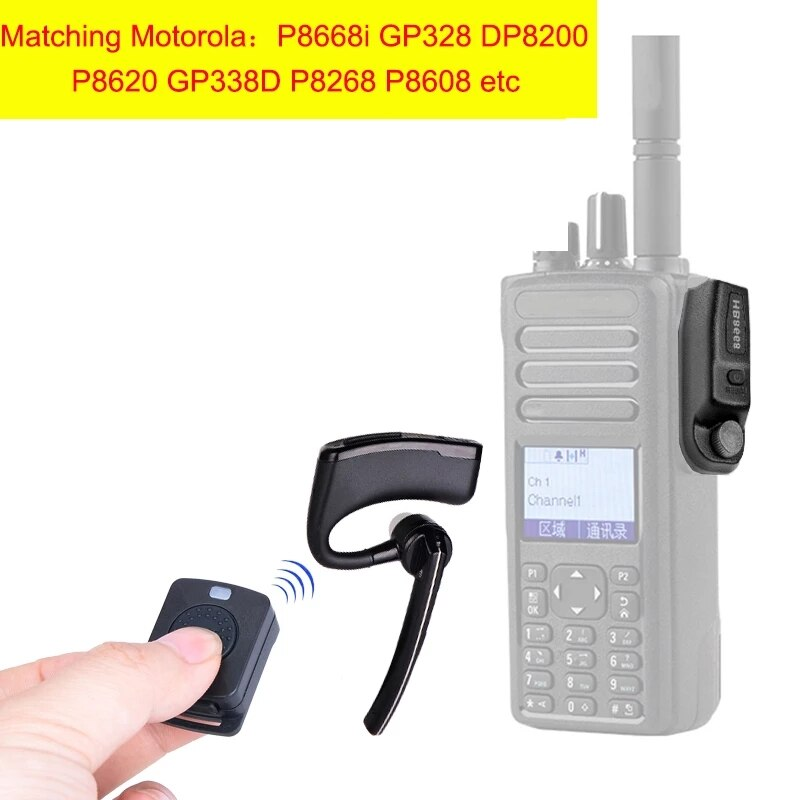 Walkie Talkie Wireless Earpiece Bluetooth Headset Two Way Radio Earphone For Motorola P8668i GP328 DP8200 P8620 GP338D P8268