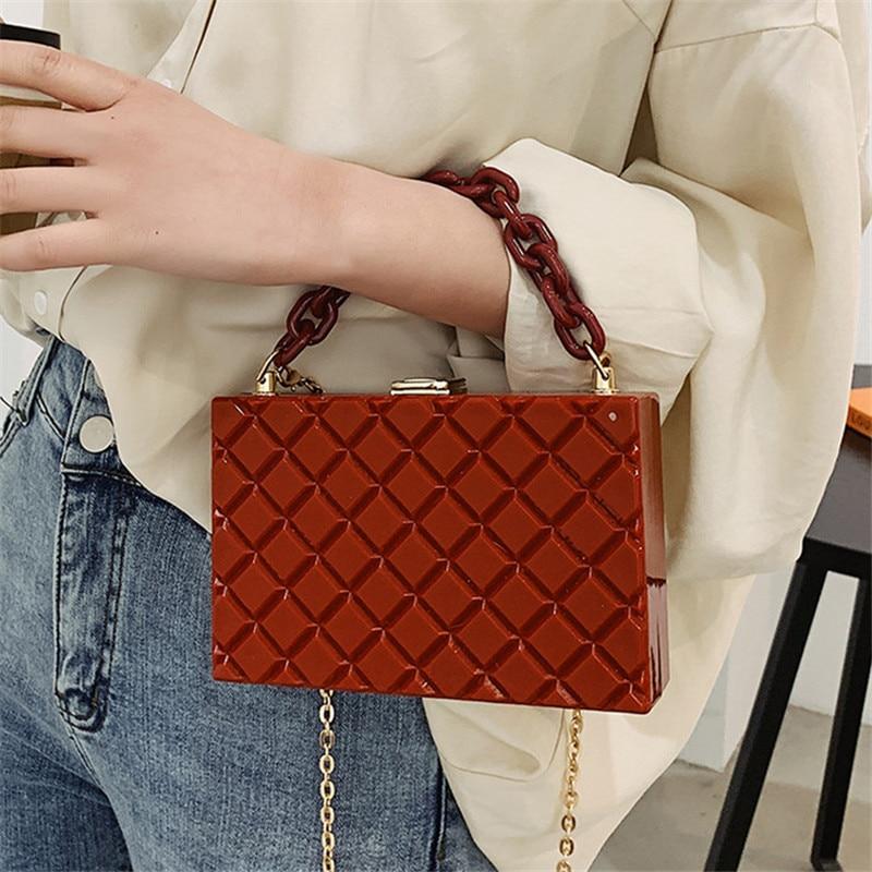 Lattice Box Square Crossbody Bag 2021 Fashion New High-quality PVC Womens Designer Handbag Chain Shoulder Messenger
