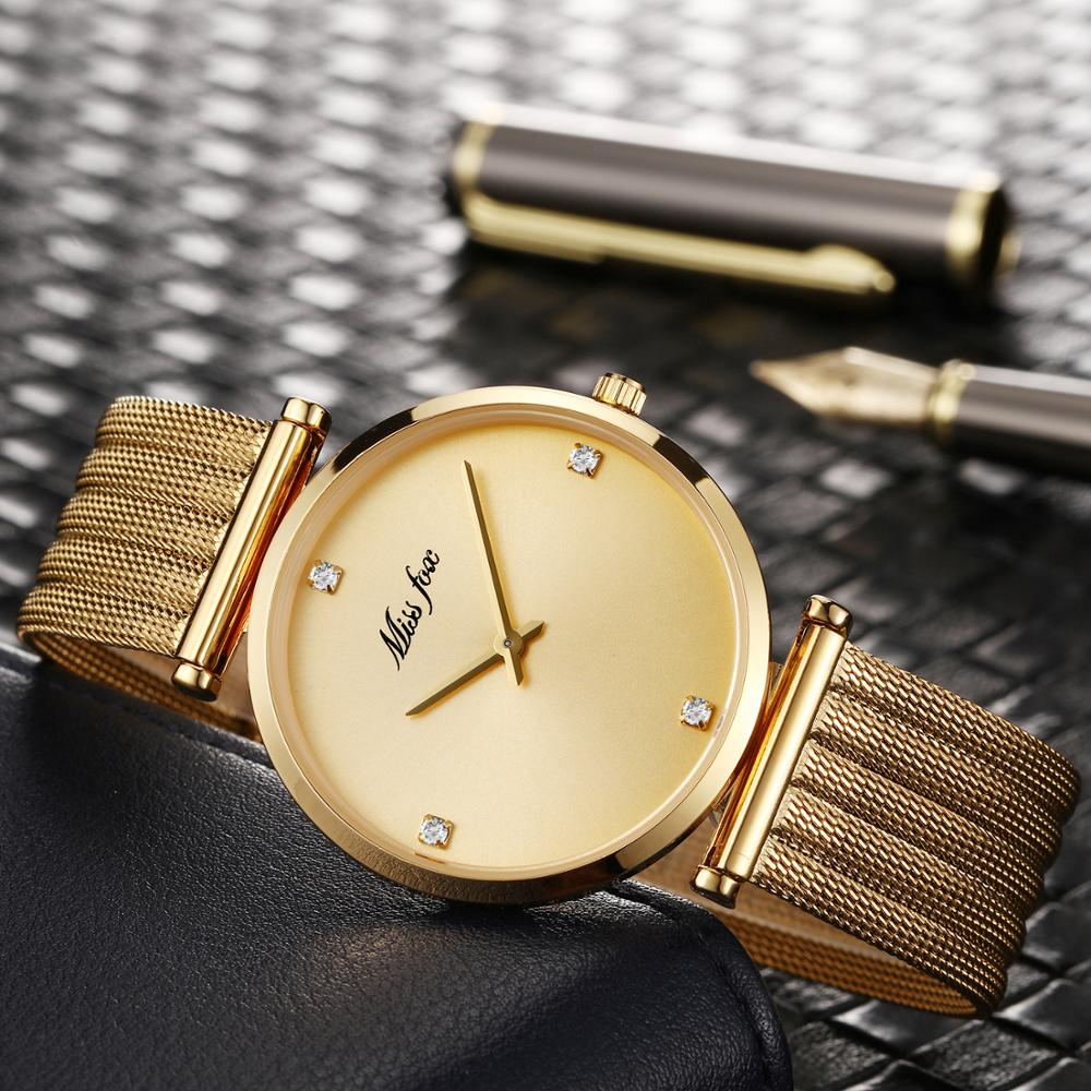Relojes de mujer 2019 de lujo 2018 Reloj de oro marca minimalista Lady Horloges vruwen Reloj para mujer Reloj de oro hora regalos