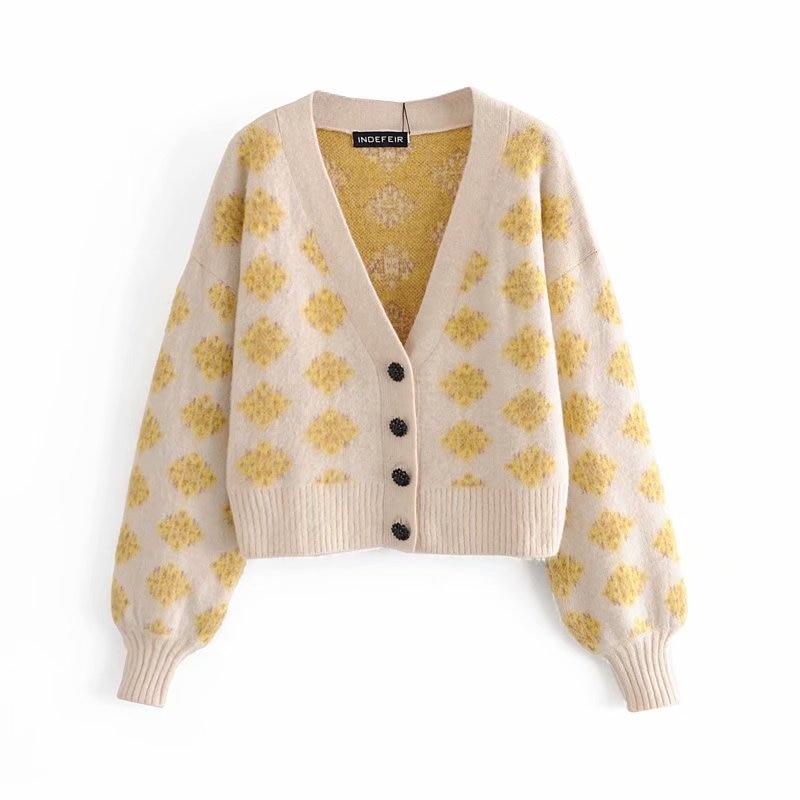 Уличная одежда женский свитер с принтом 2020 Модный женский кардиган с v-образным вырезом Повседневный женский элегантный свободный свитер на пуговицах шикарный свитер для девочек