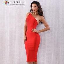 EDGLuLu été rouge une épaule asymétrique robe de pansement femmes Sexy dos nu fermeture éclair Club célébrité piste robe de soirée 0806