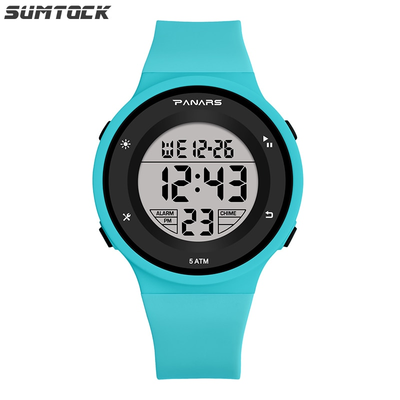 1pc silicone led light digital rubber sport wrist child watch in yellow blue pink green red white black ladies horloge kinderen SUMTOCK Sport Digital Watches For Student Girls Boys Blue Pink Black Led Light Luminous Colorful Calendar Alarm Clock Watch
