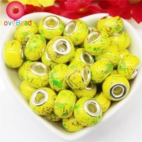 10pcs yellow color blue red flower glass european charms murano big hole spacer beads fit pandora bracelet chain jewelry beads