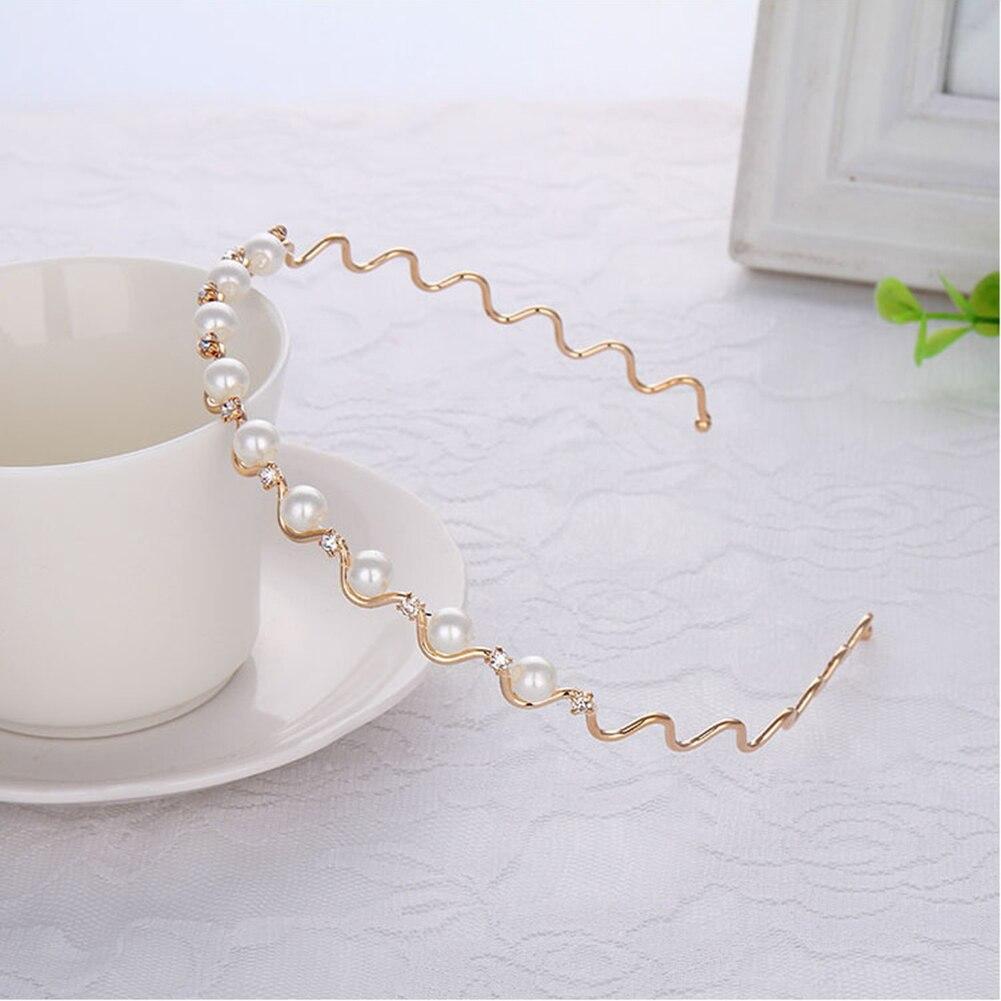 1 Uds cristal popular Diamante de imitación diadema de perlas ondas mujeres nupcial boda Tiara accesorios para el cabello corona moda Hairwear