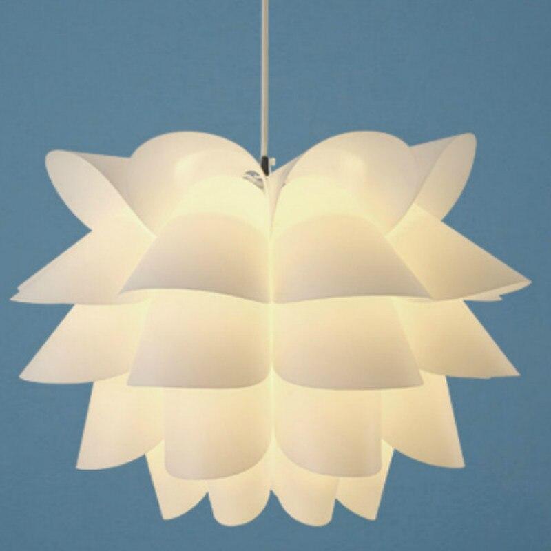 Pendiente de flor de loto luces nórdicas lámpara colgante dormitorio sala de estar lámpara colgante IQ Puzzle creativo DIY lámpara colgante de techo E27