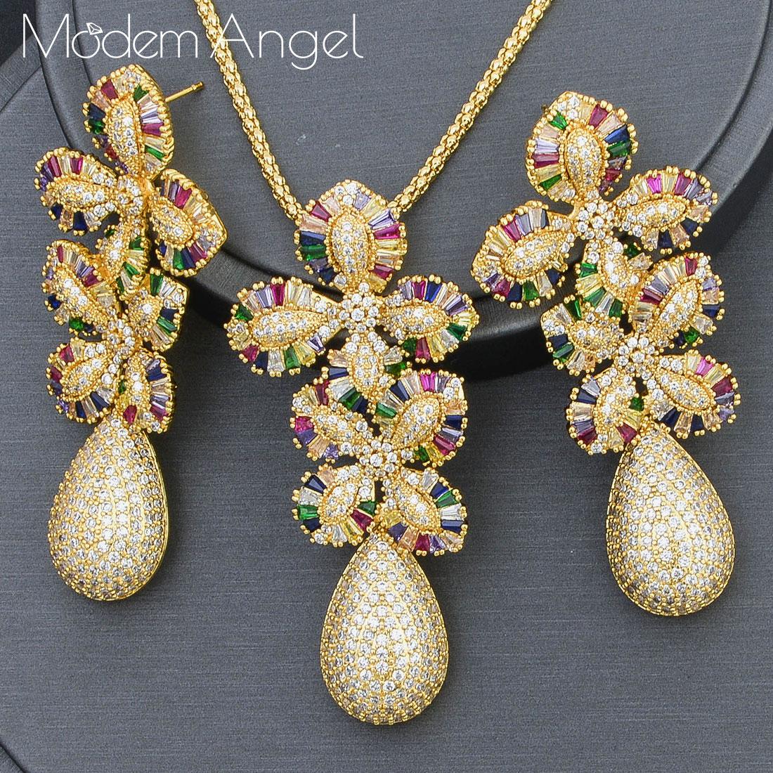 ModemAngel الفاخرة ليف قطرة زهرة كامل مايكرو زركون قلادة قلادة أقراط للنساء دبي مجوهرات عالية الجودة
