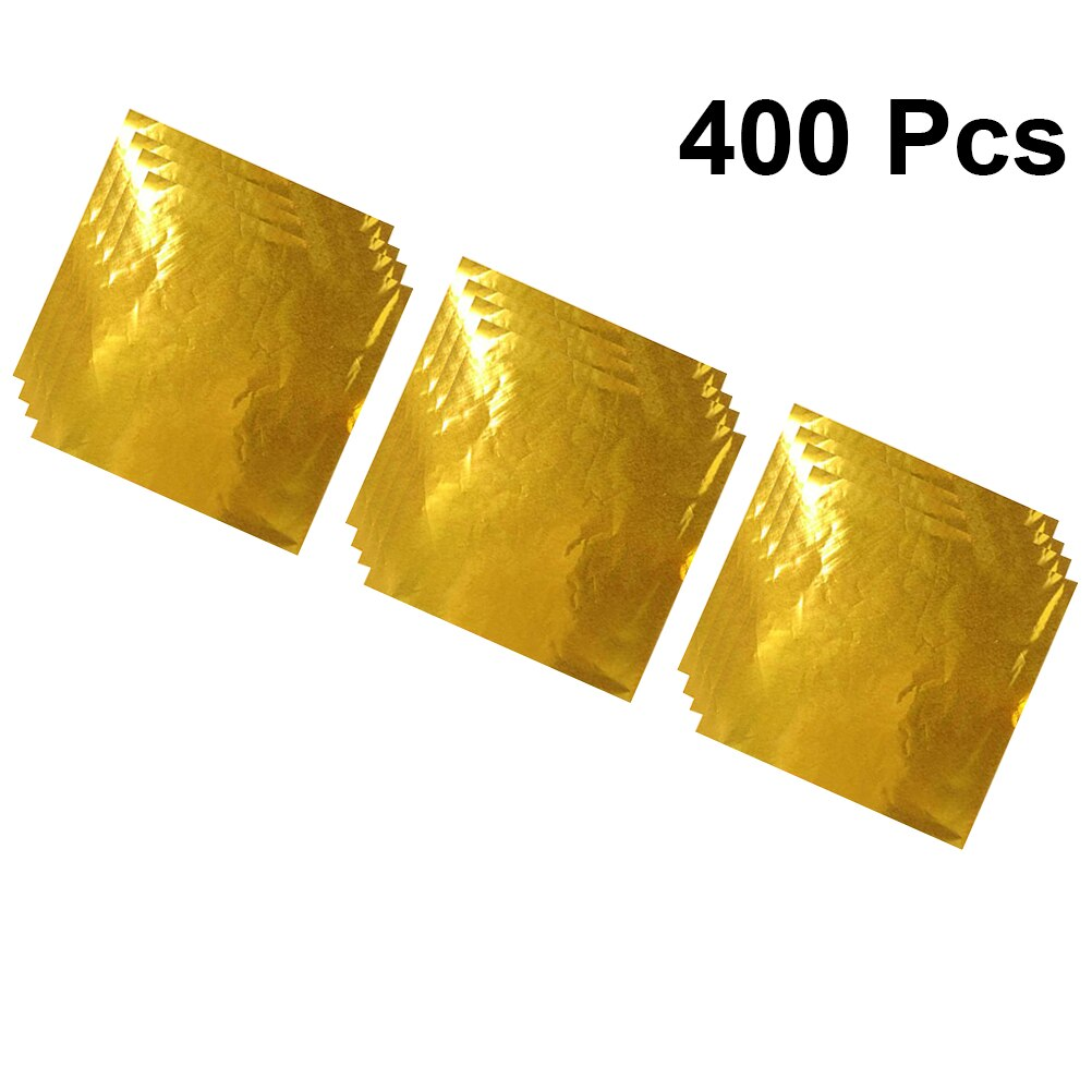 Papel de papel de aluminio dorado de 8x8cm para envolver Chocolate, papel de regalo, papel de embalaje, envoltorio de alimentos para golosinas, hojas de té, aperitivos, 400 unidades