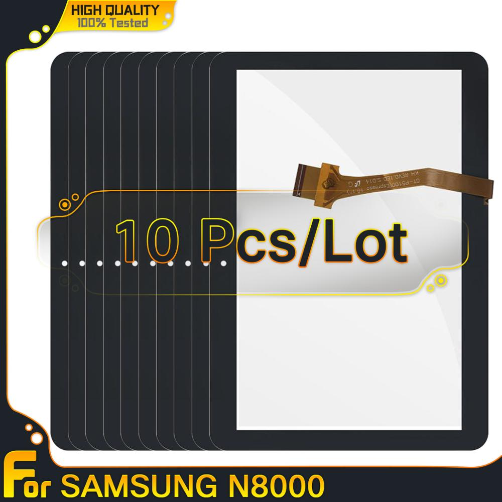 10 pces para samsung galaxy tab 2 GT-P5100 p5100 p5110 n8000 painel da tela de toque digitador assembléia vidro frontal 10.1 parts parts peças toque