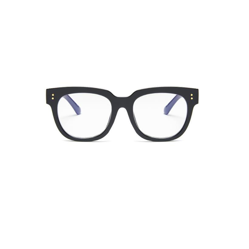 Korean fashion women glasses classic black frame anti-blue unisex glasses jelly color large frame blue film flat mirror