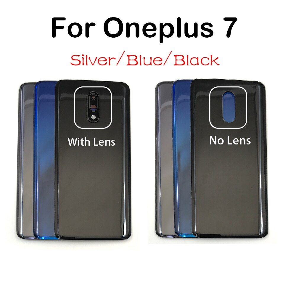 Nuevo para Oneplus 7 Pro 7Pro batería carcasa trasera de vidrio puerta trasera Etiqueta de carcasa adhesiva con lente de cámara
