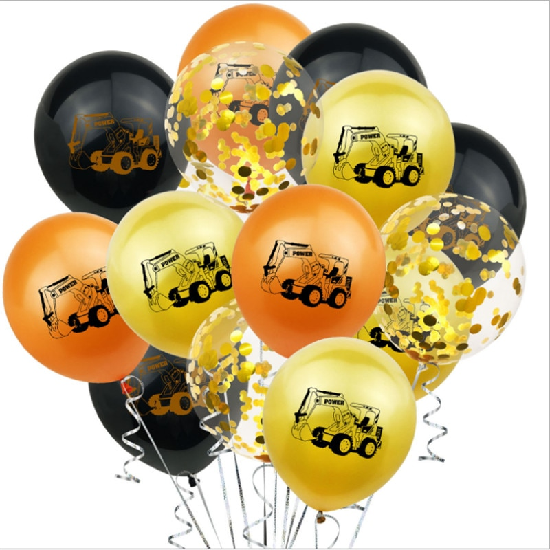 12-Inch Excavator Construction Vehicle Rubber Balloons Boy Building Theme Anniversary Birthday Party Decoration Supplies