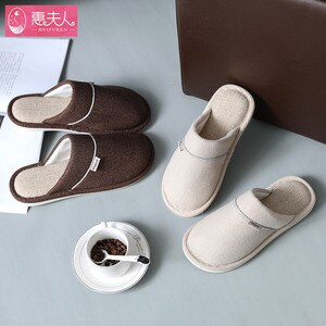 Women Indoor Slippers Cotton Linen Fabric Autumn Winter Shoes Woman Men Home Floor Slipper Solid Color Ladies Breathable Slides