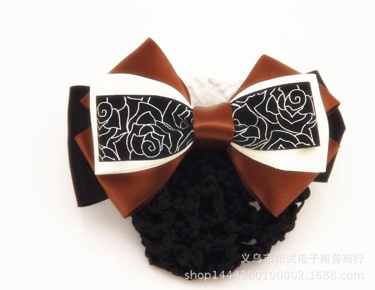Professional hair accessories net bag head flower stewardess Korean mobile banking nurse bow staff hair net bag handmade ribbon