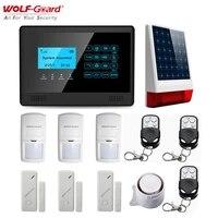Loup-garde sans fil LCD GSM SMS alarme a domicile securite systeme antivol sirene solaire PIR detecteur de mouvement capteur de porte telecommande