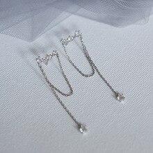 Minimaliste argent couleur gland cristal boucles doreilles simples longues boucles doreilles pour les femmes coréenne mode bijoux boucle doreille livraison directe