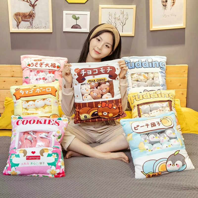 A Plushie Bag Pudding Toys Mini Animals Doll Sakura Bunny Cat Penguin Bear Chick Flamingo Plushie Pillow Girlfriend Kids Gifts