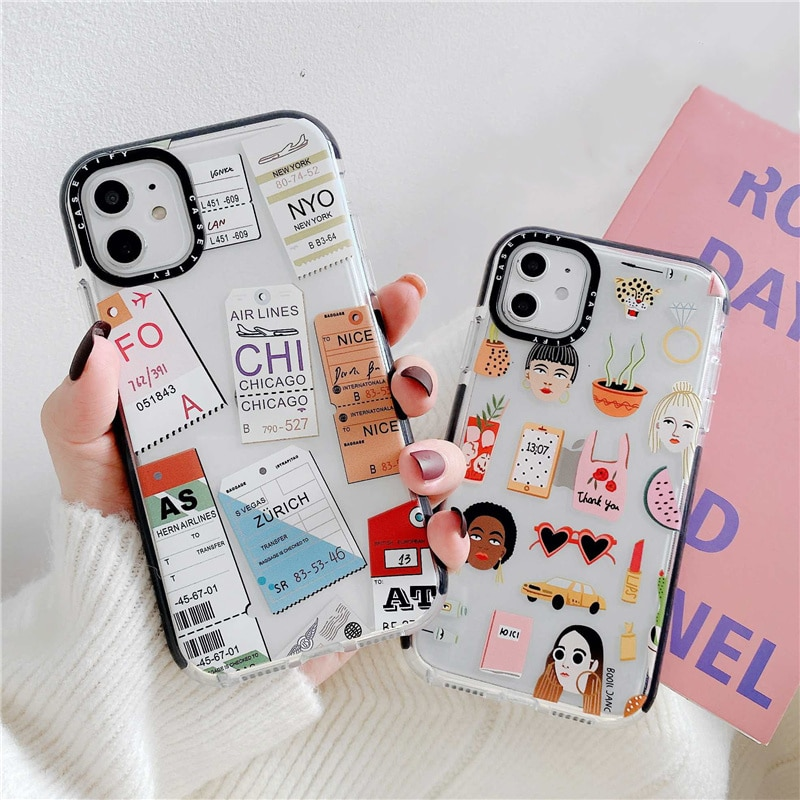 Linda funda de teléfono suave para chica con billete de vuelo claro para iPhone 11 Pro Max XR XS Max X 6 s 7 8 Plus SE 2020 funda de borde de dibujos animados