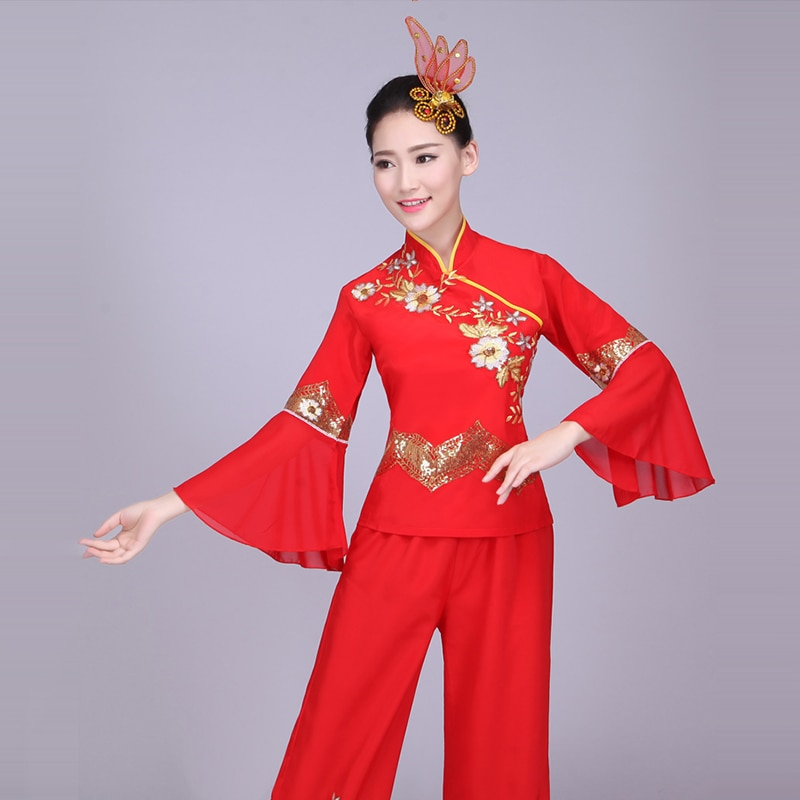 Chinese style, Hanfu, Yangko clothing costumes, female fan dance square dance clothes, Chinese folk dance costume for woman chinese style hanfu yangko dance clothes squares fan dance national dance clothes stage dance costume