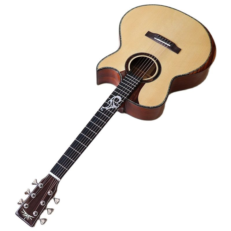 Professional acoustic guitar full solid wood 41 inch guitar sharp angel high gloss 6 string folk guitar with radian corner enlarge
