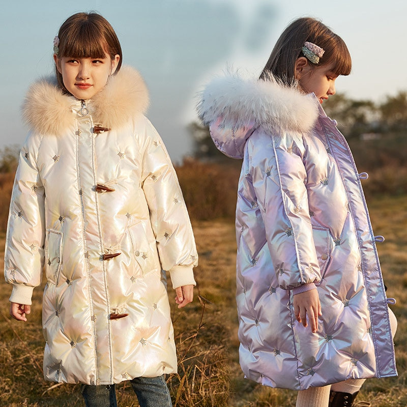 Girls' Down Jackets White Duck Down Horn Clasp Button Clothes New Fashion Hooded Coat Mid-length Thick Overcoat Jacket  For Girl enlarge