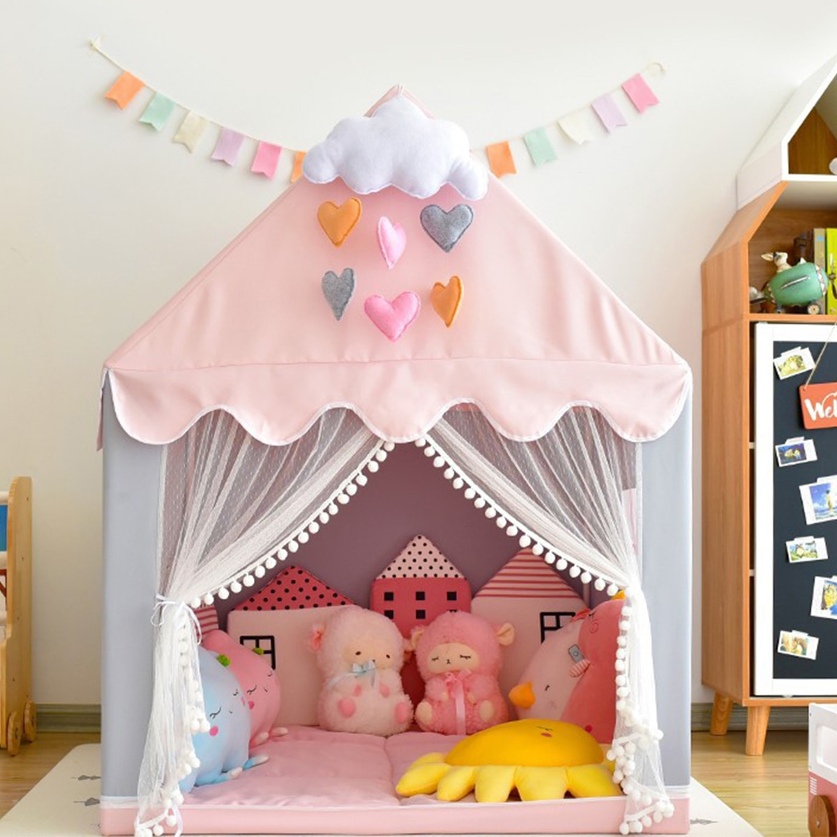 1.3M Children Play Tent Princess Castle House Game Room Cartoon Easy Assemble Playhouse Tent Toys Gifts