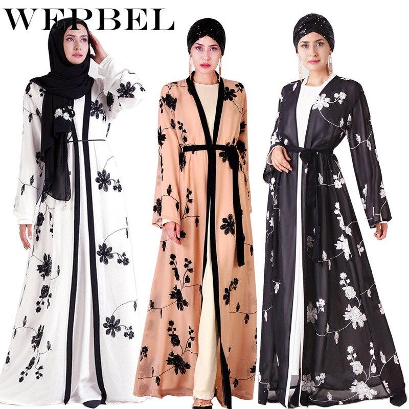 WEPBEL musulmana abertura en la parte delantera Floral bordado islámico Kimono Kaftan Abaya turco Cardigan islámico vestido