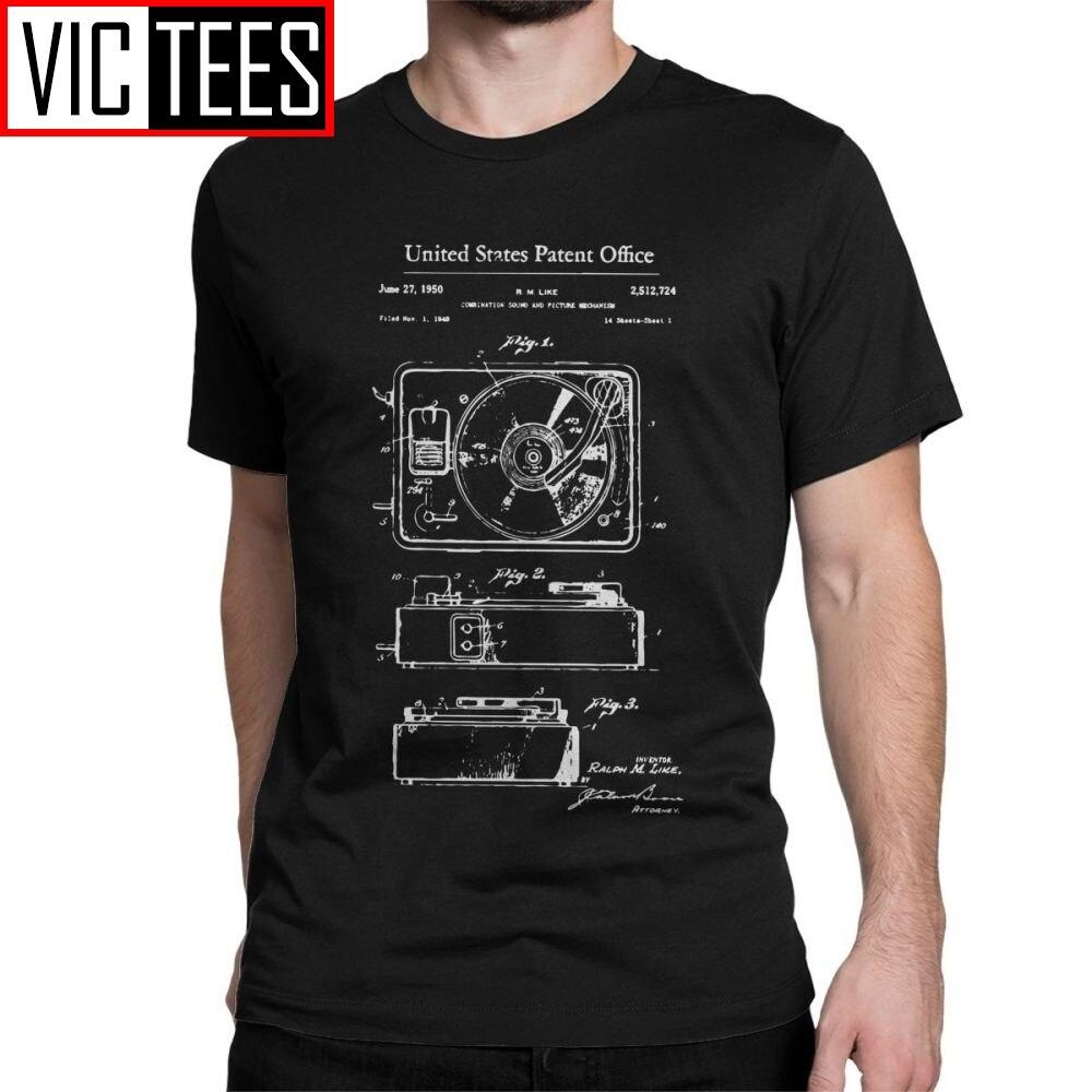 Camiseta de hombre con reproductor de discos antiguo, camiseta con patente de música, Dj, vinilo Vintage, manga corta, ropa de Camiseta de algodón para verano