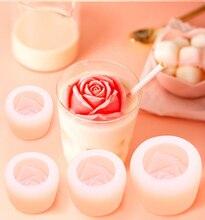 Moule à gâteau 3D en Silicone Rose, pour la saint-valentin, Mousse, whisky, café, glaces, moules à bougies, pour savon, outil de décoration de gâteau à faire soi-même