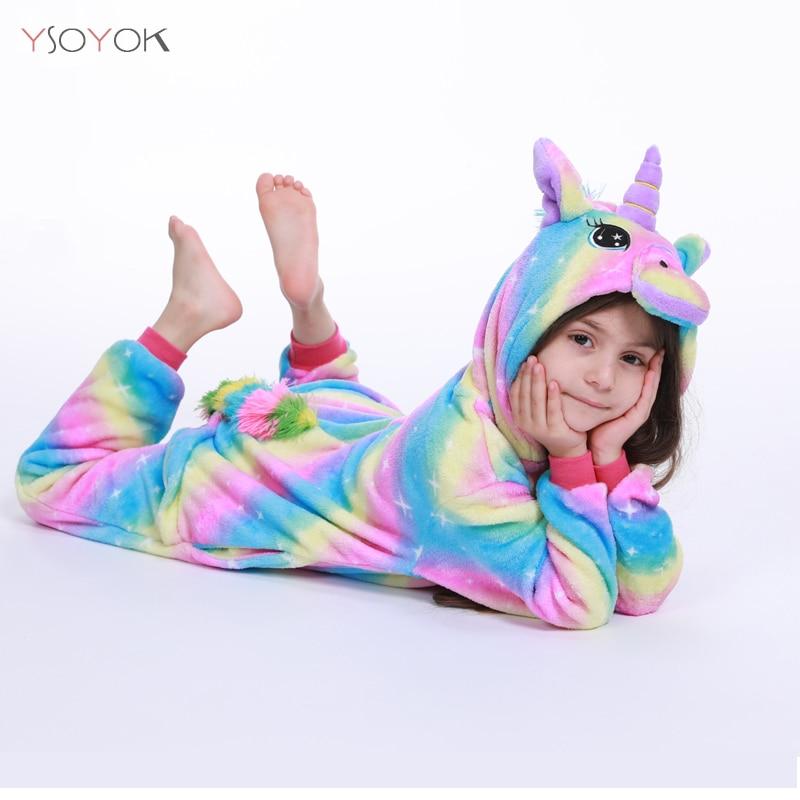 Pijama Kigurumi, unicornio arcoíris para niños, pijamas para niñas, ropa de dormir para niños, Animal Panda Licorne, Onesie, traje para niños, Mono