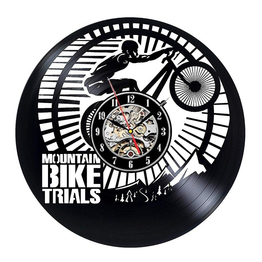 "Reloj de pared de vinilo para bicicleta de montaña, reloj de vinilo con diseño moderno para ciclismo o deportes, reloj de pared, regalos para decoración del hogar de 12"""
