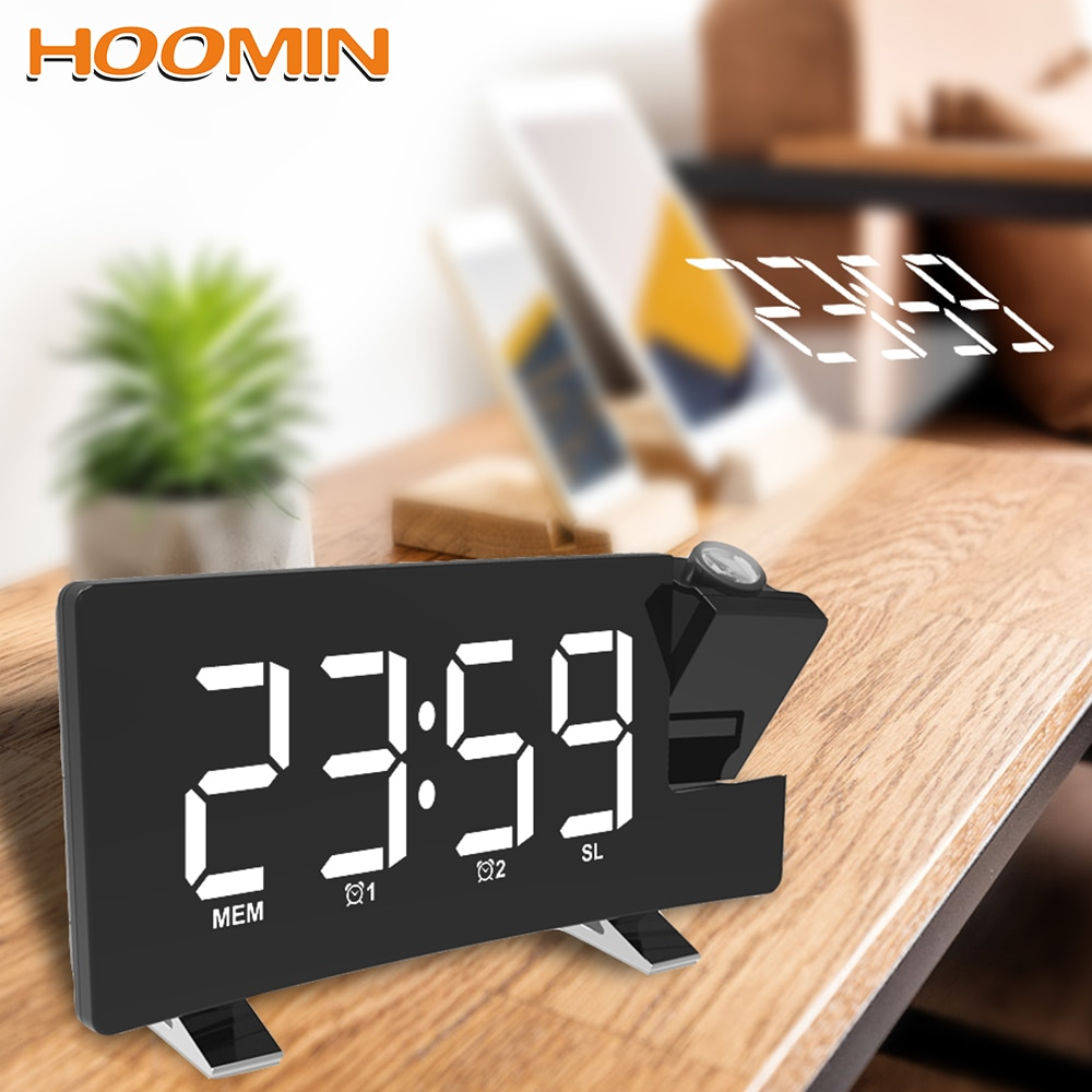 Hoomin despertador de relógio digital, rádio fm, soneca, temporizador, led, usb, projeção, luz de fundo rotativa, projetor