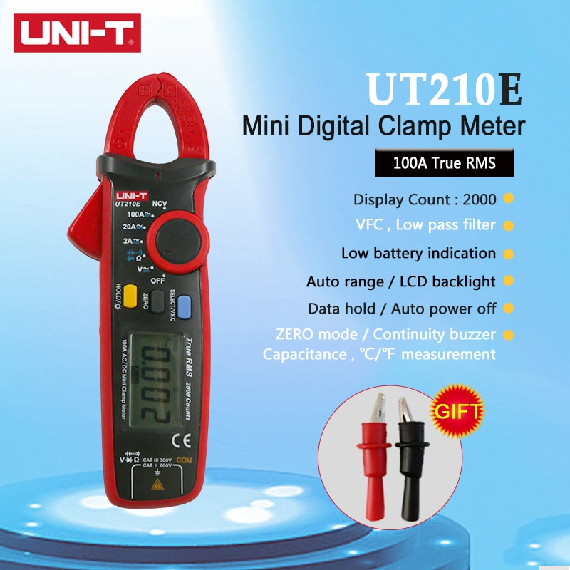 UNI-T uni t ut210a ut210b ut210c ut210d ut210e mini medidores de braçadeira digital rms faixa automática de capacitância vfc sem contato multímetro