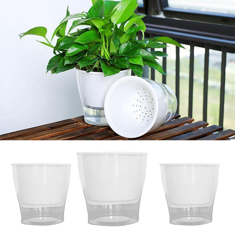 Maceta de plástico transparente Maceta de jardín autorriego conveniente Oficina Creativa hidropónica planta crece cuenca económica