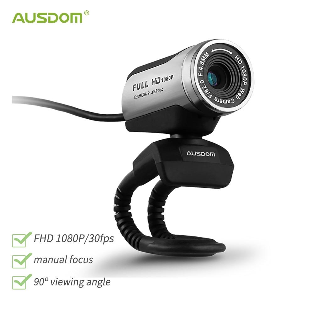ausdom aw615 hd web camera com microfone usb 20 1080p webcam pc para laptop transmissao