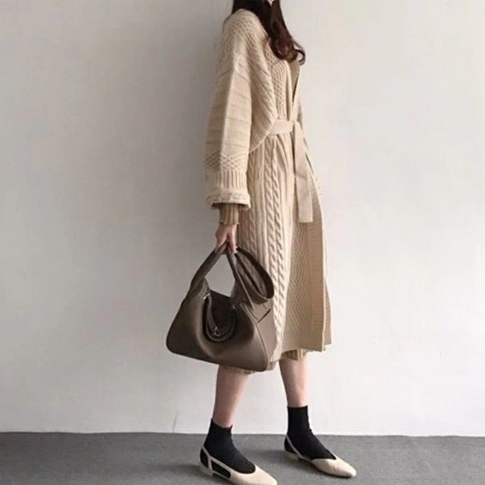 Womens Loose Fit Mid-Length Knitted Cardigan Sweater Long-Sleeve V Neck Casual Solid Color With Waist Tie Cardigan Sweater Coat enlarge